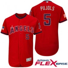 Los Angeles Angels #5 Albert Pujols Red Stars & Stripes 2016 Independence Day Flex Base Jersey