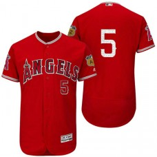 Los Angeles Angels Albert Pujols #5 Scarlet 2017 Spring Training Cactus League Patch Authentic Collection Flex Base Jersey
