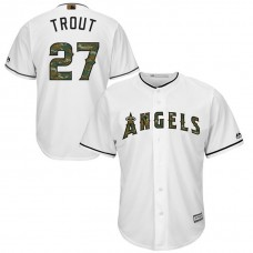 Los Angeles Angels Mike Trout #27 White Camo Fashion 2016 Memorial Day Cool Base Jersey