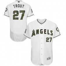 Los Angeles Angels Mike Trout #27 White Camo Fashion 2016 Memorial Day Flex Base Jersey