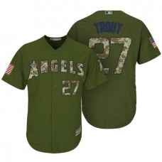Los Angeles Angels of Anaheim #27 Mike Trout Camo Olive Salute Cool Base Jersey