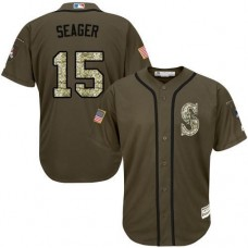 Seattle Mariners #15 Kyle Seager Olive Camo Jersey