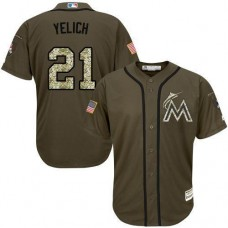 Miami Marlins #21 Christian Yelich Olive Camo Jersey