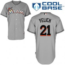 Miami Marlins #21 Christian Yelich Grey Away Cool Base Jersey