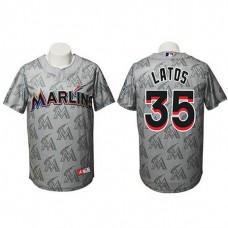 Miami Marlins #35 Mat Latos Authentic Watermark Fashion Grey Jersey