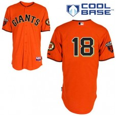 San Francisco Giants #18 Matt Cain Cool Base Orange with 2010 World Series Patch Jersey