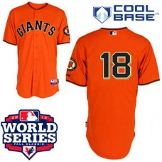 San Francisco Giants #18 Matt Cain Cool Base Orange with 2012 World Series Patch Jersey