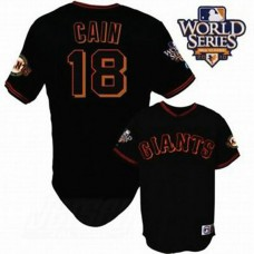 San Francisco Giants #18 Matt Cain Cool Base Black with 2010 World Series Jersey