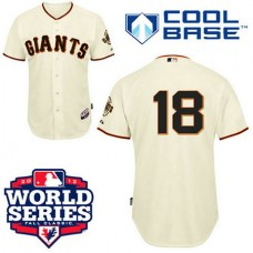 San Francisco Giants #18 Matt Cain Cool Base Cream with 2012 World Series Patch Jersey