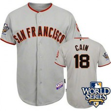 San Francisco Giants #18 Matt Cain Cool Base with 2010 World Series Grey Jersey