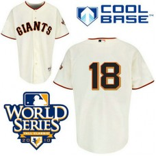 San Francisco Giants #18 Matt Cain Cream Cool Base 2010 World Series Patch Jersey