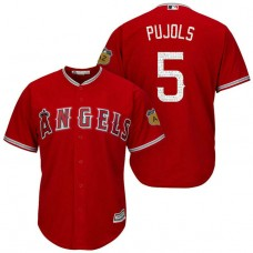 Los Angeles Angels #5 Albert Pujols 2017 Spring Training Cactus League Patch Scarlet Cool Base Jersey