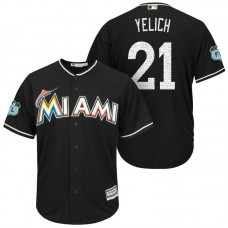 Miami Marlins #21 Christian Yelich 2017 Spring Training Grapefruit League Patch Black Cool Base Jersey