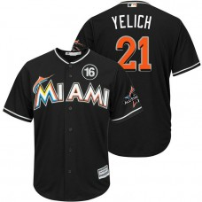 Miami Marlins #21 Christian Yelich 2017 All-Star Jose Fernandez Patch Black Cool Base Jersey