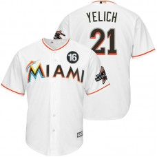 Miami Marlins #21 Christian Yelich 2017 All-Star Jose Fernandez Patch White Cool Base Jersey