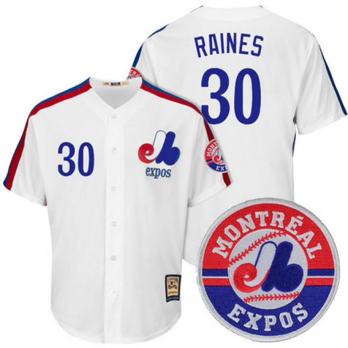 Montreal Expos Tim Raines #30 Cooperstown White Cool Base Jersey