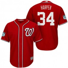 Washington Nationals #34 Bryce Harper 2017 Spring Training Grapefruit League Patch Scarlet Cool Base Jersey