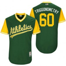 Oakland Athletics Andrew Triggs #60 Triggonometry Green Nickname 2017 Little League Players Weekend Jersey