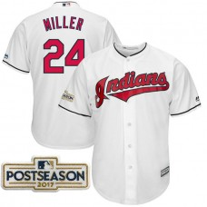 Andrew Miller #24 Cleveland Indians 2017 Postseason White Cool Base Jersey