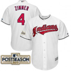 Bradley Zimmer #4 Cleveland Indians 2017 Postseason White Cool Base Jersey