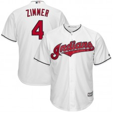 Bradley Zimmer #4 Cleveland Indians Home White Cool Base Jersey