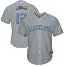 Cleveland Indians #12 Francisco Lindor Grey Cool Base Jersey 2017 Father's Day