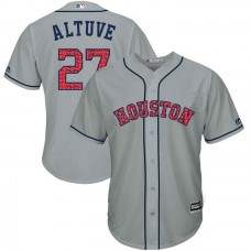 Houston Astros Independence Day #27 Jose Altuve 2017 Stars & Stripes Grey Cool Base Jersey
