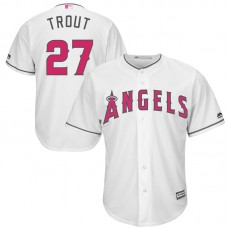 Los Angeles Angels #27 Mike Trout White Cool Base Jersey 2017 Mother's Day