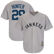 Catfish Hunter #29 New York Yankees Replica Cooperstown Collection Grey Cool Base Jersey