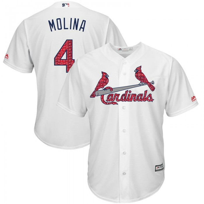 St. Louis Cardinals Independence Day #4 Yadier Molina 2017 Stars & Stripes White Cool Base Jersey