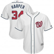 Washington Nationals Independence Day #34 Bryce Harper 2017 Stars & Stripes White Cool Base Jersey