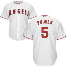 Mens Los Angeles Angels Albert Pujols #5 Home White Cool Base Jersey