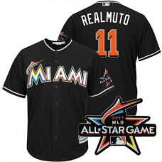 Miami Marlins J.T. Realmuto #11 Black 2017 All-Star Game Patch Cool Base Jersey