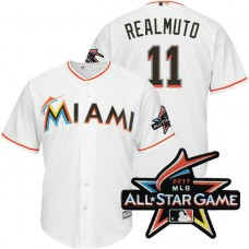Miami Marlins J.T. Realmuto #11 White 2017 All-Star Game Patch Cool Base Jersey