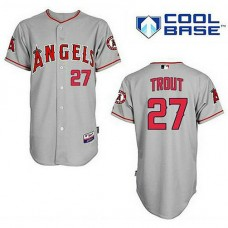 Los Angeles Angels of Anaheim #27 Mike Trout Grey Cool Base Jersey
