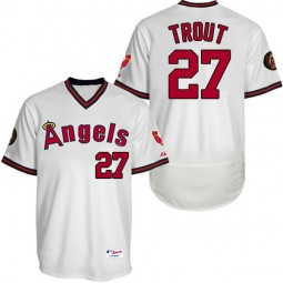 Los Angeles Angels Mike Trout #27 White Authentic Collection Flexbase Player Jersey