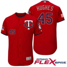 Minnesota Twins #45 Phil Hughes Red Stars & Stripes 2016 Independence Day Flex Base Jersey
