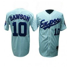 Montreal Expos #10 Andre Dawson White(Black Strip) Jersey