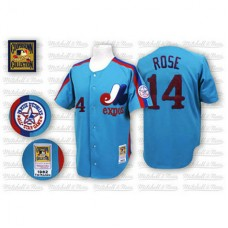 Montreal Expos #14 Pete Rose Blue Jersey