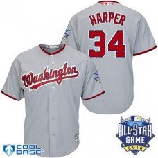 Washington Nationals #34 Bryce Harper Grey 2016All Star Game Patch Cool Base Jersey