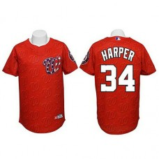 Washington Nationals #34 Bryce Harper Authentic Watermark Fashion Red Jersey