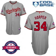 Washington Nationals #34 Bryce Harper Grey Road 10th Anniversary Authentic Cool Base Jersey