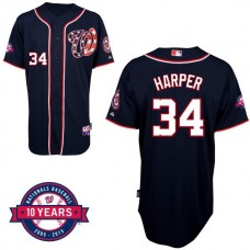 Washington Nationals #34 Bryce Harper Navy Blue Alternate 10th Anniversary Authentic Cool Base Jersey