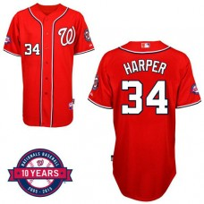 Washington Nationals #34 Bryce Harper Red Alternate 10th Anniversary Authentic Cool Base Jersey