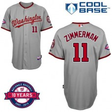 Washington Nationals #11 Ryan Zimmerman Grey Road 10th Anniversary Authentic Cool Base Jersey
