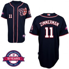 Washington Nationals #11 Ryan Zimmerman Navy Blue Alternate 10th Anniversary Authentic Cool Base Jersey