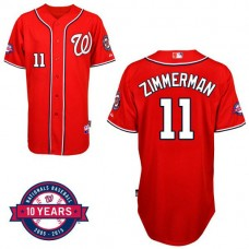 Washington Nationals #11 Ryan Zimmerman Red Alternate 10th Anniversary Authentic Cool Base Jersey