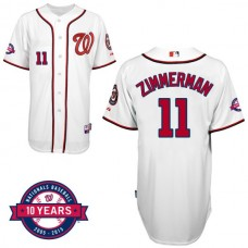 Washington Nationals #11 Ryan Zimmerman White Home 10th Anniversary Authentic Cool Base Jersey