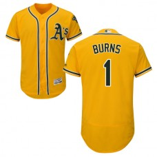 Oakland Athletics Billy Burns #1 Gold Authentic Collection Flexbase Jersey