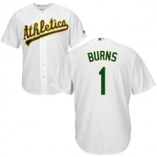 Oakland Athletics Billy Burns #1 White Authentic Cool base Jersey
